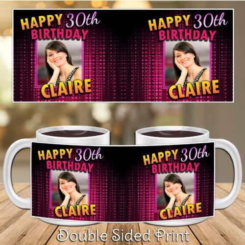 Personalised Pink Bokeh Happy Birthday PHOTO Mug N34